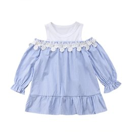 line baby girls t shirt Canada - Casual Newborn Infant Kids Baby Girls Clothes Off Shoulder A-line Princess Dress Boutique Dress Long Sleeve Striped T-shirt