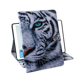 draw tpu case UK - For Samsung Galaxy Tab S5e T720 T725 Tablet Case Flip Cover Stand Leather Wallet Coloured drawing Tiger Lion Owl Flower