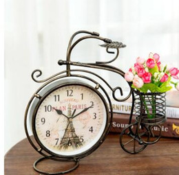 table clock mechanical Canada - Wholesale-8 Inch Retro Style Tricycle Mute Table clock Vintage Iron Art Silent Desk Clock Decoration Ornament