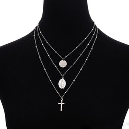 $enCountryForm.capitalKeyWord Australia - Multilayer Cross Virgin Mary Pendant Beads Chain Christian Necklace Goddess Catholic Choker Necklace Collier for Women
