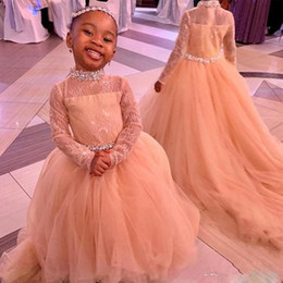 HigH collar girl pageant dresses online shopping - African High Neck Full Sleeves Flower Girls Dresses Long Sash Beads Crystals Girls Pageant Gowns Tulle Zipper Kids Birthday Dress