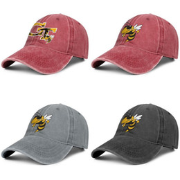 mens paisley jacket NZ - GA Tech Yellow Jackets football logo red mens and women baseball denim cap design designer custom design your own fitted cute unique