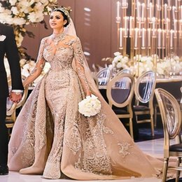 embroidery wedding dresses detachable train Australia - Champagne Arabic Mermaid Wedding Dresses with Detachable Train 2020 Long Sleeve Luxury Lace Applique Beaded Trumpet Wedding Gown