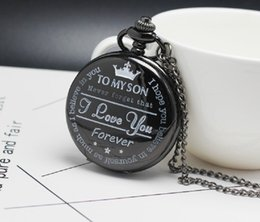 $enCountryForm.capitalKeyWord NZ - Pocket Watch TO MY SON I LOVE YOU Laser Engraved Quartz Flip Clock for Boy's Children's Fob Chain Clock Kids Gifts for Son Gift