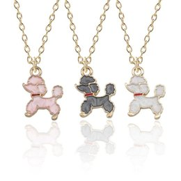 $enCountryForm.capitalKeyWord NZ - Lovely Cartoon Tiny Poodle Dog Necklace Women Fashion Gold Enamel Puppy Necklaces Pendants Animal Jewelry For Kids Xmas Gifts