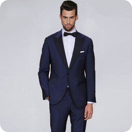 light navy blue suits for men Australia - Italy Navy Blue Attire Men Suits for Wedding Groom Tuxedo Groomsmen Outfits Black Wide Peaked Lapel Slim Fit Man Blazer Costume Homme 2Piece