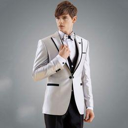 $enCountryForm.capitalKeyWord NZ - Sliver Men Suits For Wedding Suits Custom Made Groom Tuxedos Blazer Jacket 3Piece Vest Pants Slim Fit Formal Best Man Costume Evening Party