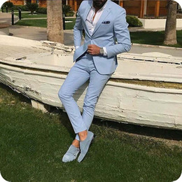 suits designs for groom Australia - Latest Designs Blue Men Suits for Wedding Suits Man Blazers Summer Casual Custom Made Groom Wedding Tuxedos 2Piece Slim Fit Costume Homme