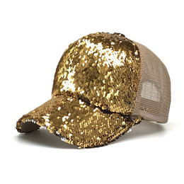 Sparkling hatS online shopping - New Design Sequins Ponytail Hats Glitter Baseball Cap Shiny Messy Bun Snapback Hat Hip hop Sunshade Outdoor Cap Sparkling Shiny Hats