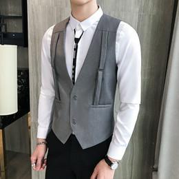 $enCountryForm.capitalKeyWord Australia - Latest Design Vests For Men Front Strap Two Buttons Casual Waistcoat Korean Style Solid weste Trend Dress Slim Fit gilet homme