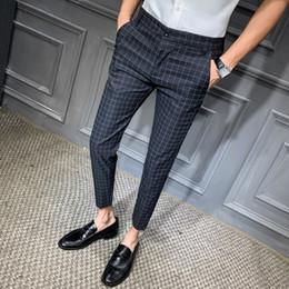 Wholesale men dressing grey trouser resale online - 2019 Men Dress Pant Plaid Business Casual Slim Fit Ankle Length Pantalon Classic Vintage Check Suit Trousers Wedding SH190831