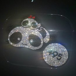 Crystal adhesive stiCker online shopping - Cute Cat Panda D Cartoon Crystals Rhinestones Stickers Car Accessories Self Adhesive DIY Diamond Fuel tank cover decorate