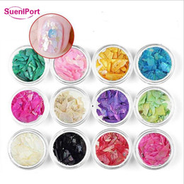 Discount port mix - Sune l Port 12pcs set Color Mixed 2019 New Nail Decoration Nails Shell Stone Flakes Gradient Abalone Slices Broken Stone