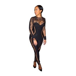 $enCountryForm.capitalKeyWord UK - Sexy See Through Print Mesh Jumpsuit for Women High Collar Long Sleeves Bodysuits Soft Stretch Jumpsuits Club Clothes