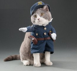 2020 Pet Dog Cat Funny Clothing Halloween Party Cosplay Policemen Costume Dog Christmas Dress Suit Pet Upright Finery Clothes Jacket
