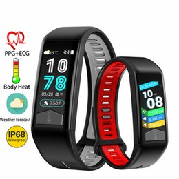body displays 2019 - Fitness Smart Bracelet T02 IP68 Waterproof Wristband with Heart Rate ECG Monitor Smart Band Weather Display Body Tempera