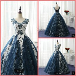 Real Sexy Pictures NZ - Vestido De Festa navy blue lace ball gown prom dress sleeveless lace appliques corset sheer back sexy real picture prom gowns evening party