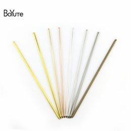 $enCountryForm.capitalKeyWord UK - jewelry BoYuTe (20 Pieces Lot) 8 Colors 3*130MM Metal Brass Stick with One Loop Diy Hand Made Hair Jewelry Accessories