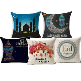 cotton lantern UK - Ramadan Kareem EID Cushion Covers Watercolor Painting Moon Star Lantern Thick Linen Cotton Pillow Case 45X45cm Sofa Chair Decoration