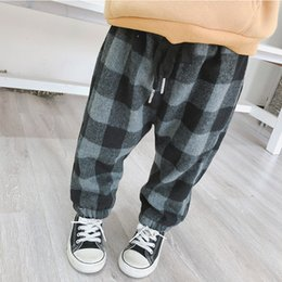 8e08e2b19 2019 Winter New Arrival korean style cotton plaid pattern all-match  thickened warm long pants for cute sweet baby girls and boys