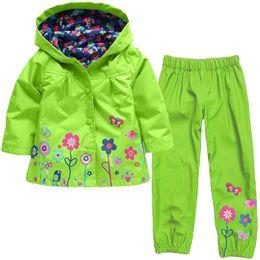 $enCountryForm.capitalKeyWord Australia - Children Autumn Jacket Long Sleeved Coat + Trousers Suit Baby Girls Spring Cute Flowers Jacktet Windproof And Rainproof Hoodie