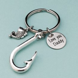 fish balls Australia - Family Dad Key Chain LOVE YOU DADDY Silver Color Fish Hook Keychain Father Fishing Men Key Ring Father's Day Gift