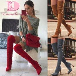 Nova marca de sapatos femininos mulher Além de Grande tamanho grande 32-48 sobre o joelho botas finas de salto alto sexy Partido Botas botas de mujer venda por atacado