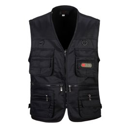black sleeveless jackets for men NZ - 4 Colors Male Casual Multi Pocket Vest For Summer Men Solid Photographer Shooting Outerwear Zipper Waistcoat Sleeveless Jacket T190828