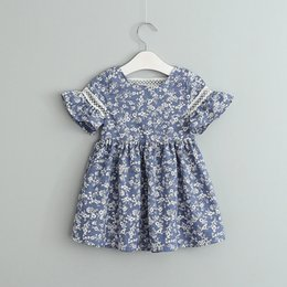 $enCountryForm.capitalKeyWord NZ - Baby Girl Dress 0-4 Years Cotton Summer Newborn Girl Dresses Blue Floral Print Dress Baby Girl Sundress For Girls Kids Clothes Y19061101