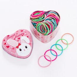 Children Hair Ponytail Australia - 100pcs Cute Box Packed Girls Colorful Basic Rubber Bands Ponytail Holder Elastic Hair Bands Children Scrunchie Hair Accessories