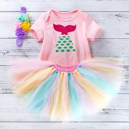 mermaid jumpsuit Australia - kid new style girl clothes set Baby short sleeve cartoon mermaid print jumpsuit net gauze tutu hair band three-piece Toddlers party clothing