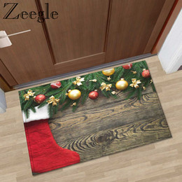 red floor mats NZ - Zeegle Floor Mat Doormat Christmas Carpet Non-slip Kitchen Rug Shower Mat Washable Outdoor Carpet Bedroom Rug Hallway