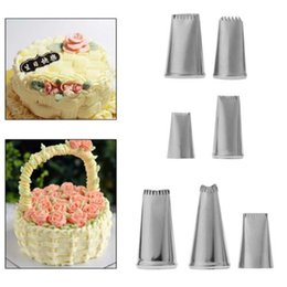 icing pipes Australia - 7Pc Stainless Steel Flower Icing Piping Nozzles Tips Pastry Cake DIY Baking Tool Fondant Cake Flower Tips Rose Flowers