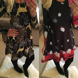 $enCountryForm.capitalKeyWord Australia - Year New Casual Christmas Mini Dress Women Long Sleeve Floral Plus Size Dress Designer Clothes Femme O-Neck Ladies Dresses