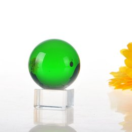 glasses balls base Australia - 40mm Green Glass Crystal FengShui Crystal Ball Sphere Magic Asian Quartz with Base Table Decor Magic Props Ball Home Decoration