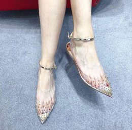 wide pointed toe flats Australia - Luxury Designer Spikes Pointed Toe Women Sandalias Flats Perfect Ankle Strap Red Bottom Wedding Dress Lady Gladiator Sandals EU35-43