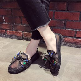 Fishermen Flats NZ - Summer New Fashion Rhinestone bow-knot Slip On Round Toe Female Fisherman Shoes Women Loafers Casual Shoes Woman Flats Wholesale as200