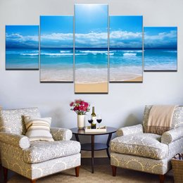 $enCountryForm.capitalKeyWord Australia - Modular Canvas Painting Wall Art 5 Pieces Beach Surf Blue Sky Sea Pictures Living Room HD Print Seascape Poster Home Decor Frame