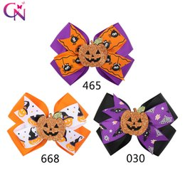 $enCountryForm.capitalKeyWord Australia - 4.5 inch Halloween Hair Bow for Girls With Smile Pumpkin Printed Ribbon Hairgrips Trick or Treat Festival Party Headwear Hair Accessories