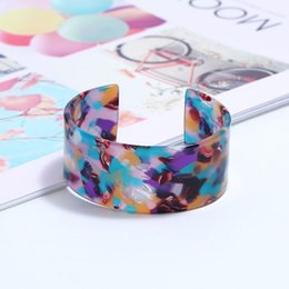 $enCountryForm.capitalKeyWord Australia - Leopard Bangle Acetate Resin Opening Bracelet Women Lady Charms Acrylic Decoration Floral Print Fashion Trend Gifts Elegant Ethn