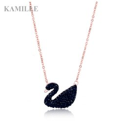 $enCountryForm.capitalKeyWord Australia - Kamille Crystal Rhinestone Black Swan Pendant Necklace for Women Girls S925 Silver Rose Gold Choker Chain Fashion Jewelry Gift