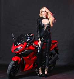 $enCountryForm.capitalKeyWord Australia - Sexy Race Car Driver Girl Costume Tight-fitting Catsuit Open Chest Lacing Jumpsuit Shiny Faux Leather Bodysuit Club Wear