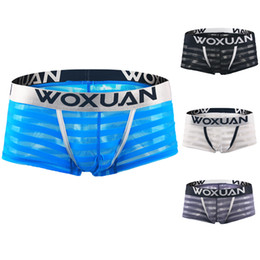 short trunks for men UK - Men Sexy Boxer Briefs Shorts Soft Underpants See-Through Mesh Stripe Transparent Sexy Underwear Trunk for Man