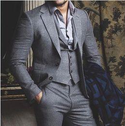 Gray Wool Suit Australia - Wool Groom Suits 2019 Slim Fit Two Button Notched Lapel Business Suit Wedding Tuxedos (Jacket+Pants+Vest)