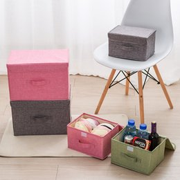 $enCountryForm.capitalKeyWord Australia - cotton linen Fabric folding storage box Kids Toy organizer Wardrobe Storage bin Drawer Plastic Container organizador