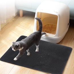 Discount printed pet pads - 30x30cm Newest Grey Cat Litter Mat Double Layer Cats Litter Trapper Foldable Pad Protect Floor Carpet Light Weight Pet D