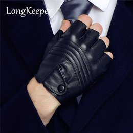 $enCountryForm.capitalKeyWord Australia - LongKeeper New Style Mens Leather Driving Gloves Fitness Gloves Half Finger Tactical Gloves Black Guantes Luva