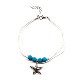 anklets women leather NZ - Chic Starfish Elegant Leather Anklet Fashion Star Silver Ankle Bracelet Charms Summer Beach Barefoot Jewelry Gift Ankle