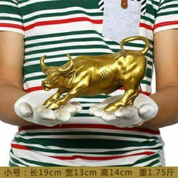 Wholesale 8inch Length Big Wall Street Bronze Fierce Bull OX Statue Brass