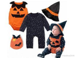 $enCountryForm.capitalKeyWord Australia - New Pattern Children Halloween Performance clothes Cotton Baby Pumpkin Suit Hats 3 Piece Set Men And Women Children Uniforms